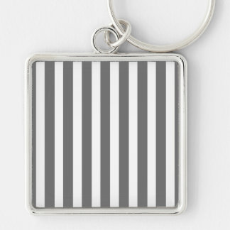 Charcoal Grey and White Cabana Stripes Silver-Colored Square Keychain