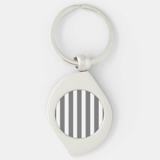 Charcoal Grey and White Cabana Stripes Silver-Colored Swirl Metal Keychain
