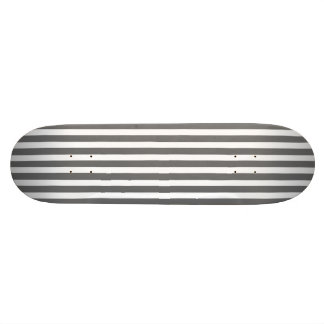 Charcoal Grey and White Cabana Stripes Skate Board Deck