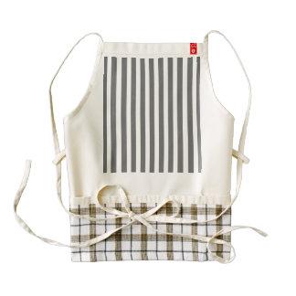 Charcoal Grey and White Cabana Stripes Zazzle HEART Apron