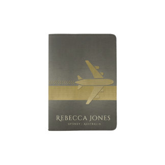 CHARCOAL GREY BLACK GOLD LEATHER AIRPLANE MONOGRAM PASSPORT HOLDER