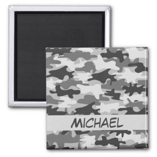 Charcoal Grey Camo Camouflage Name Personalized 2 Inch Square Magnet