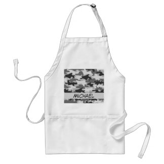 Charcoal Grey Camo Camouflage Name Personalized Aprons