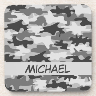 Charcoal Grey Camo Camouflage Name Personalized Beverage Coaster