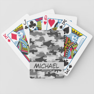 Charcoal Grey Camo Camouflage Name Personalized Bicycle Playing Cards