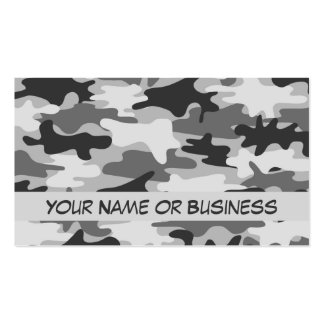 Charcoal Grey Camo Camouflage Name Personalized Business Cards