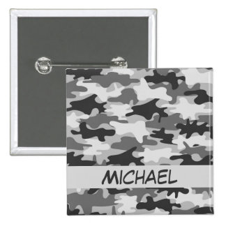 Charcoal Grey Camo Camouflage Name Personalized Button