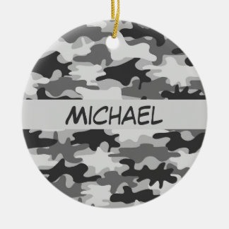 Charcoal Grey Camo Camouflage Name Personalized Ceramic Ornament