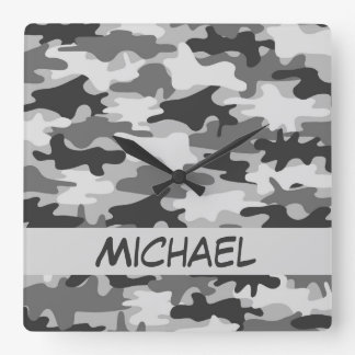 Charcoal Grey Camo Camouflage Name Personalized Wall Clocks