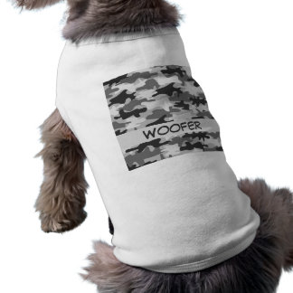 Charcoal Grey Camo Camouflage Name Personalized Doggie T-shirt