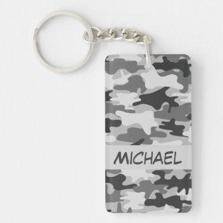 Charcoal Grey Camo Camouflage Name Personalized Double-Sided Rectangular Acrylic Keychain