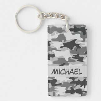 Charcoal Grey Camo Camouflage Name Personalized Keychain