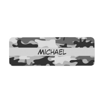 Charcoal Grey Camo Camouflage Name Personalized Label