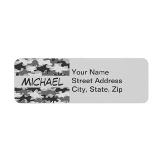 Charcoal Grey Camo Camouflage Name Personalized Custom Return Address Labels