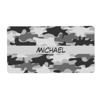 Charcoal Grey Camo Camouflage Name Personalized Personalized Shipping Labels