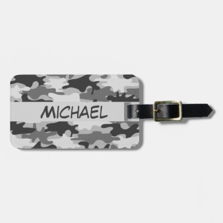 Charcoal Grey Camo Camouflage Name Personalized Luggage Tag