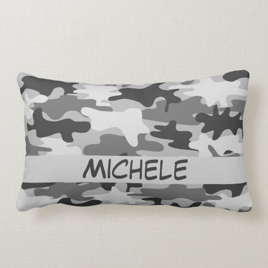 Charcoal Grey Camo Camouflage Name Personalized Lumbar Pillow