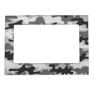 Charcoal Grey Camo Camouflage Name Personalized Frame Magnet