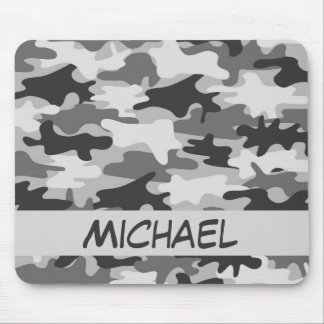 Charcoal Grey Camo Camouflage Name Personalized Mouse Pad