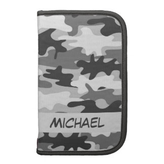 Charcoal Grey Camo Camouflage Name Personalized Folio Planners