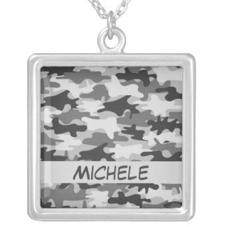 Charcoal Grey Camo Camouflage Name Personalized Square Pendant Necklace