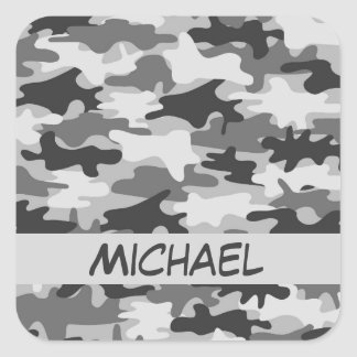 Charcoal Grey Camo Camouflage Name Personalized Square Stickers