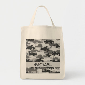 Charcoal Grey Camo Camouflage Name Personalized Tote Bag