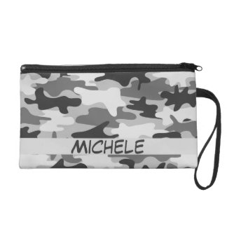 Charcoal Grey Camo Camouflage Name Personalized Wristlet Purse