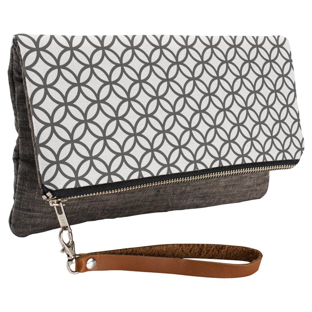 Charcoal Grey Circle Pattern Clutch