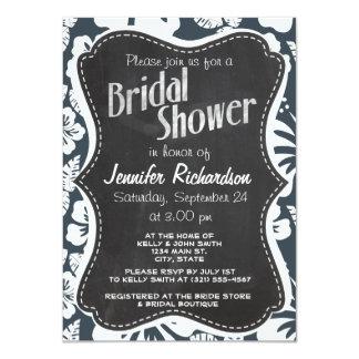 "Charcoal Grey, Gray Tropical Hibiscus; Chalkboard 4.5"" X 6.25"" Invitation Card"