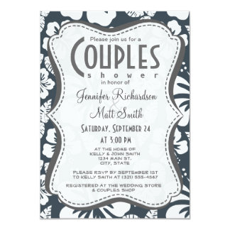 """Charcoal Grey, Gray Tropical Hibiscus 4.5"""" X 6.25"""" Invitation Card"""