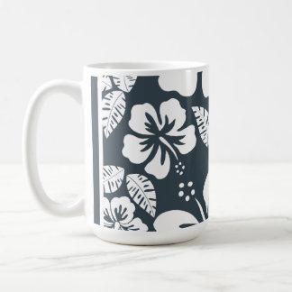 Charcoal Grey, Gray Tropical Hibiscus Classic White Coffee Mug