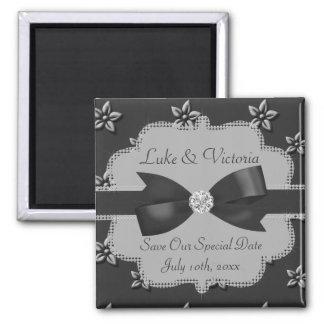 Charcoal Grey Island Flowers & Rhinestones Wedding 2 Inch Square Magnet