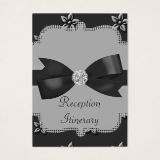 Charcoal Grey Island Flowers & Rhinestones Wedding Business Card