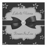 "Charcoal Grey Island Flowers & Rhinestones Wedding 5.25"" Square Invitation Card"