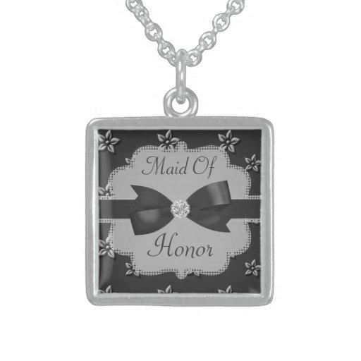 Charcoal Grey Island Flowers & Rhinestones Wedding Custom Necklace