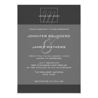 "Charcoal Grey Monogram Names Wedding Invitation 5"" X 7"" Invitation Card"