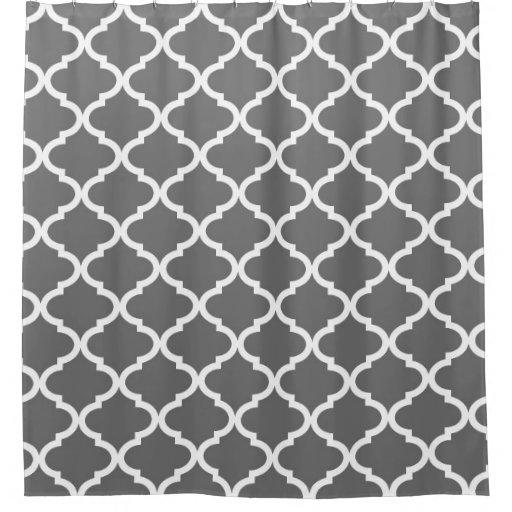 Charcoal Grey Quatrefoil Lattice Shower Curtain | Zazzle