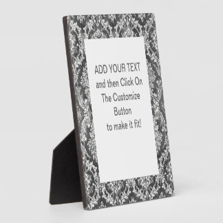 Charcoal Grunge Damask Pattern Display Plaque