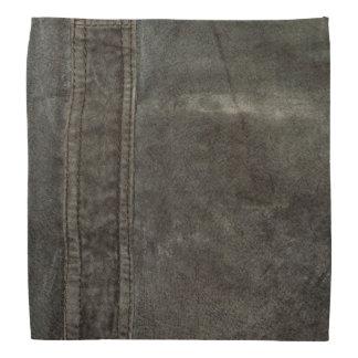 Charcoal Grunge Gray Faux Leather Bandana