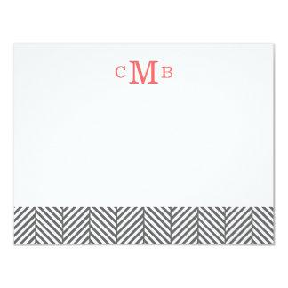 Charcoal Herringbone Custom Monogram Stationery Card