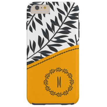 Beach Themed Charcoal Leafy Stems Golden Yellow with Monogram Tough iPhone 6 Plus Case