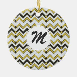 Charcoal & Lemongrass Chevron Ceramic Ornament