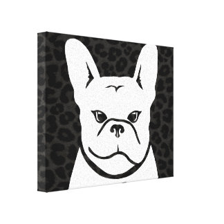 CHARCOAL LEOPARD with Frenchie Canvas Print
