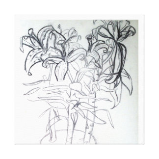 Charcoal Lilies Canvas Print