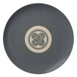 Charcoal Linen Falcon Feather  Crest Plates
