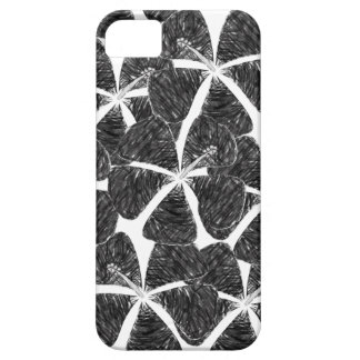 Charcoal Look Tropical Hibiscus Flower Phone Case iPhone 5 Cover
