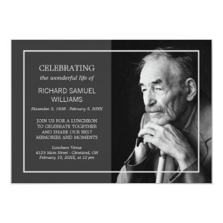 Charcoal Minimal Celebrating Life | Custom Photo Card