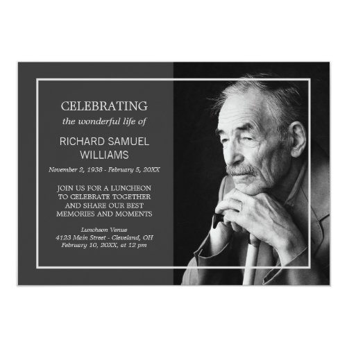 Charcoal Minimal Celebrating Life  Custom Photo Invitation