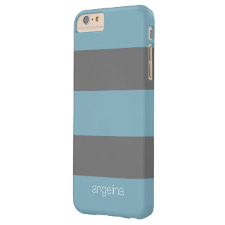 Charcoal Modern Striped Pattern Custom Name Barely There iPhone 6 Plus Case